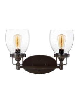Sea Gull Lighting Belton 2 Light 15 In Heirloom Bronze Bell Vanity Light by Lowe's