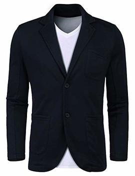 Lunir Mens Slim Fit Cotton Stylish Casual Blazer Suit Jacket Lapel Blazer Jacket Coat by Lunir