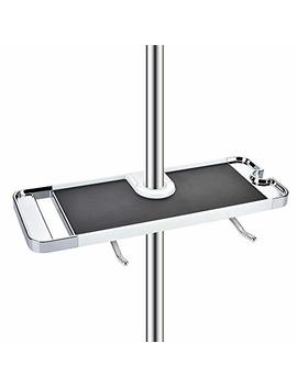 Yosmy Stainless Steel Bathroom Shelf Rack Shower Caddy Wall Mount Holder, No Drilling Shower Organiser For Shampoo Soap With 19 25mm Rail And Double Hook by Yosmy