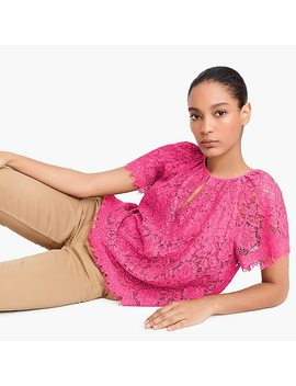 Short Sleeve Lace Top by J.Crew