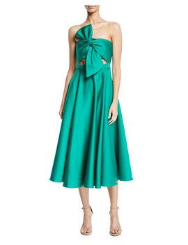 Strapless Twist Front Satin Midi Dress by Jay Godfrey