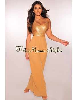 Gold Sequins Coffee Palazzo Jumpsuit by Hot Miami Style