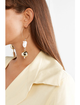 Pagoda Fruit Gold Plated Pearl Earrings by Mounser