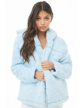 Faux Shearling Zip Up Hoodie by Forever 21