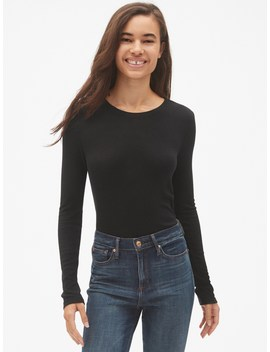 Ribbed Long Sleeve Crewneck T Shirt by Gap
