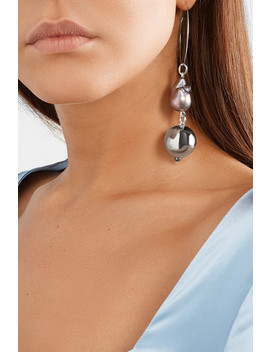 Pagoda Fruit Rhodium Plated Pearl Earrings by Mounser