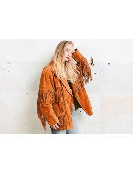 Suede Fringe Jacket . Vintage Unisex Jacket Brown Boho Bohemian Coat Oversized Jacket Boyfriend Jacket . Size Extra Large Xl by Etsy