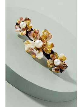 Faux Pearl Embellished Tortoiseshell Floral Barette by Anthropologie