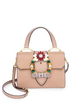 Crystal Embellished Leather Top Handle Bag by Miu Miu