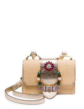 Embellished Straw And Leather Crossbody Bag by Miu Miu