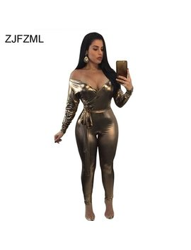 Zjfzml Women Jumpsuits Presley Gold Draped Faux Knot Overalls Party Long Sleeve V Neck Bow Sashes Rompers Womens Jumpsuit by Zjfzml Zz