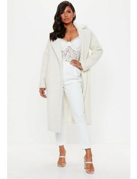 Cream Longline Borg Coat by Missguided