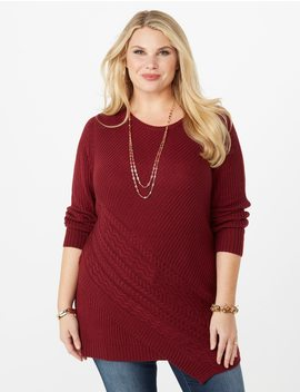 Plus Size Asymmetrical Cable Tunic by Dressbarn