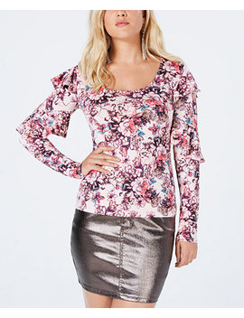 Bianka Long Sleeve Ruffle Top by Guess