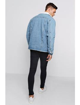 Mid Blue Fully Borg Lined Denim Jacket by Boohoo
