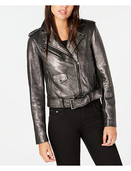 Metallic Leather Moto Jacket by Michael Michael Kors