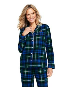 Women's Petite Long Sleeve Print Flannel Pajama Sleep Top by Lands' End