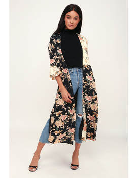Garden Light Black Floral Print Flounce Sleeve Duster by Lulus