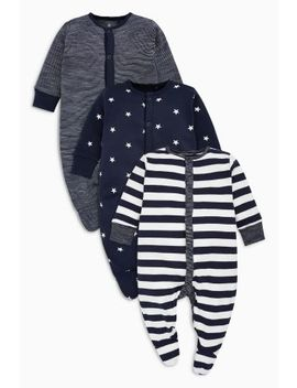Stripe And Star Print Sleepsuits Three Pack (0mths 2yrs) by Next