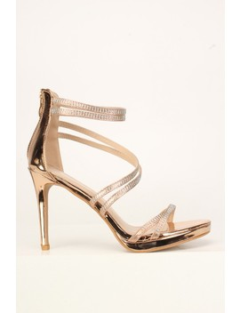 Sexy Rose Gold Rhinestone Strappy Open Toe Platform High Heels Patent by Ami Clubwear