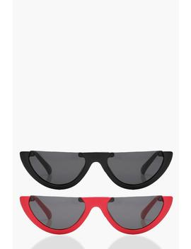 2 Pack Half Frame Retro Sunglasses by Boohoo