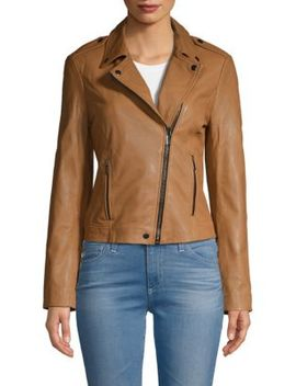 Washed Leather Moto Jacket by Badgley Mischka