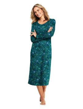 Women's Long Sleeve Print Supima Cotton Midcalf Print Nightgown by Lands' End