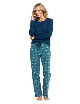 Women's Petite Long Sleeve Print Knit Pajama Sleep Set by Lands' End