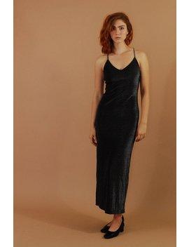Vintage Black Shimmer Evening Dress / Long Black Minimalist Slip Dress / Black Sparkle Maxi Dress / Sexy Slim Black Cocktail Dress by Etsy