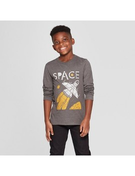Boys' Long Sleeve Space Graphic T Shirt   Cat & Jack™ Charcoal by Cat & Jack™