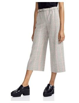 Poldi Plaid Wide Leg Cropped Pants by Maje