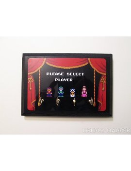 Super Mario Brothers 2 Completed Key Holder   Select Your Player   Mario Princess Peach Toad And Luigi by Etsy