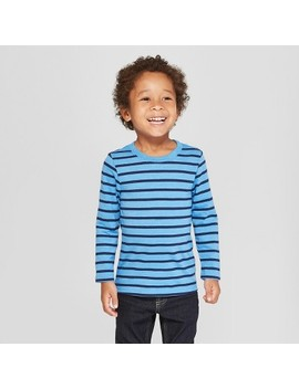 Toddler Boys' Long Sleeve Striped T Shirt   Cat & Jack™ Blue by Cat & Jack™