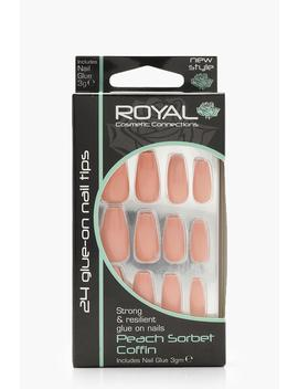 24 Peach Sorbet Coffin Nails by Boohoo