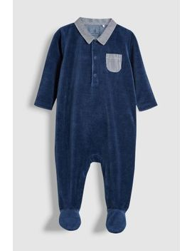 Navy Smart Velour Sleepsuit (0mths 2yrs) by Next
