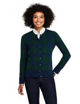 Women's Petite Supima Cotton Jacquard Cardigan Sweater by Lands' End
