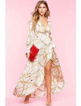 chain-print-satin-wrap-dress by agaci