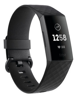 Charge 3 Unisex Black Elastomer Band Touchscreen Smart Watch 22.7mm by Fitbit
