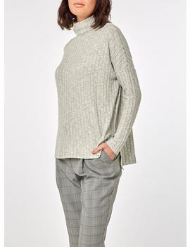 Grey Long Sleeve Brushed Roll Neck Top by Dorothy Perkins