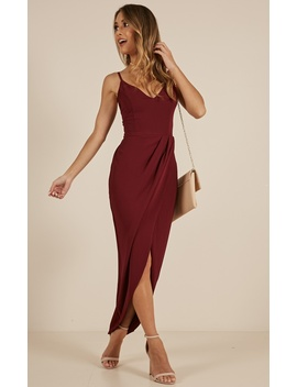 Lucky Day Maxi Dress In Wine by Showpo Fashion
