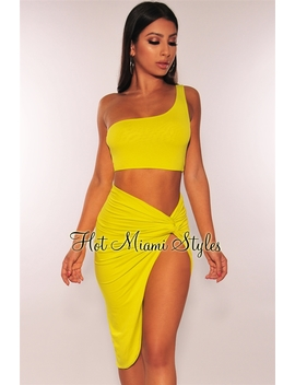 Neon Lime One Shoulder Knotted Slit Two Piece Set by Hot Miami Style
