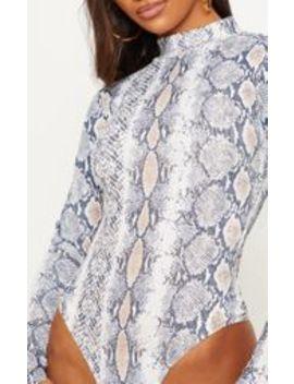White Snake Rib Roll Neck Long Sleeve Bodysuit by Prettylittlething