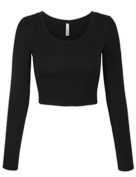 Kogmo Womens Long Sleeve Basic Crop Top Round Neck With Stretch by Kogmo