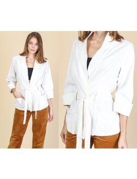 Vintage Linen Kimono Top   One Size   White Tie Waist Boho Minimalist Lightweight Jacket by Etsy