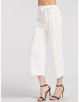 Pleated Wide Leg Pants With Belt by Shein