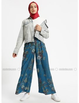 Navy Blue   Multi   Pants by Modanisa