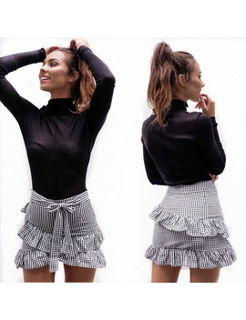2018 New Women Fashion High Waist Asymmetrical Layered Ruffle Bow Plaid Striped Pleated Skirt Casual A Line Short Mini Skirts by Gaoke