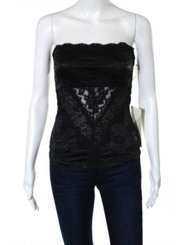 Ann Ferriday Black Embossed Sheer Lace Strapless Top Size One Size New by Ann Ferriday