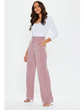 Pink Check Wide Leg Trousers by Missguided