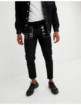 Asos Design   Jeans Slim Neri Con Tasche In Vinile by Asos
